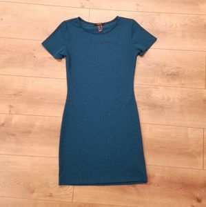 Forever 21 Bodycon Mini Dress Dark Teal {Medium}